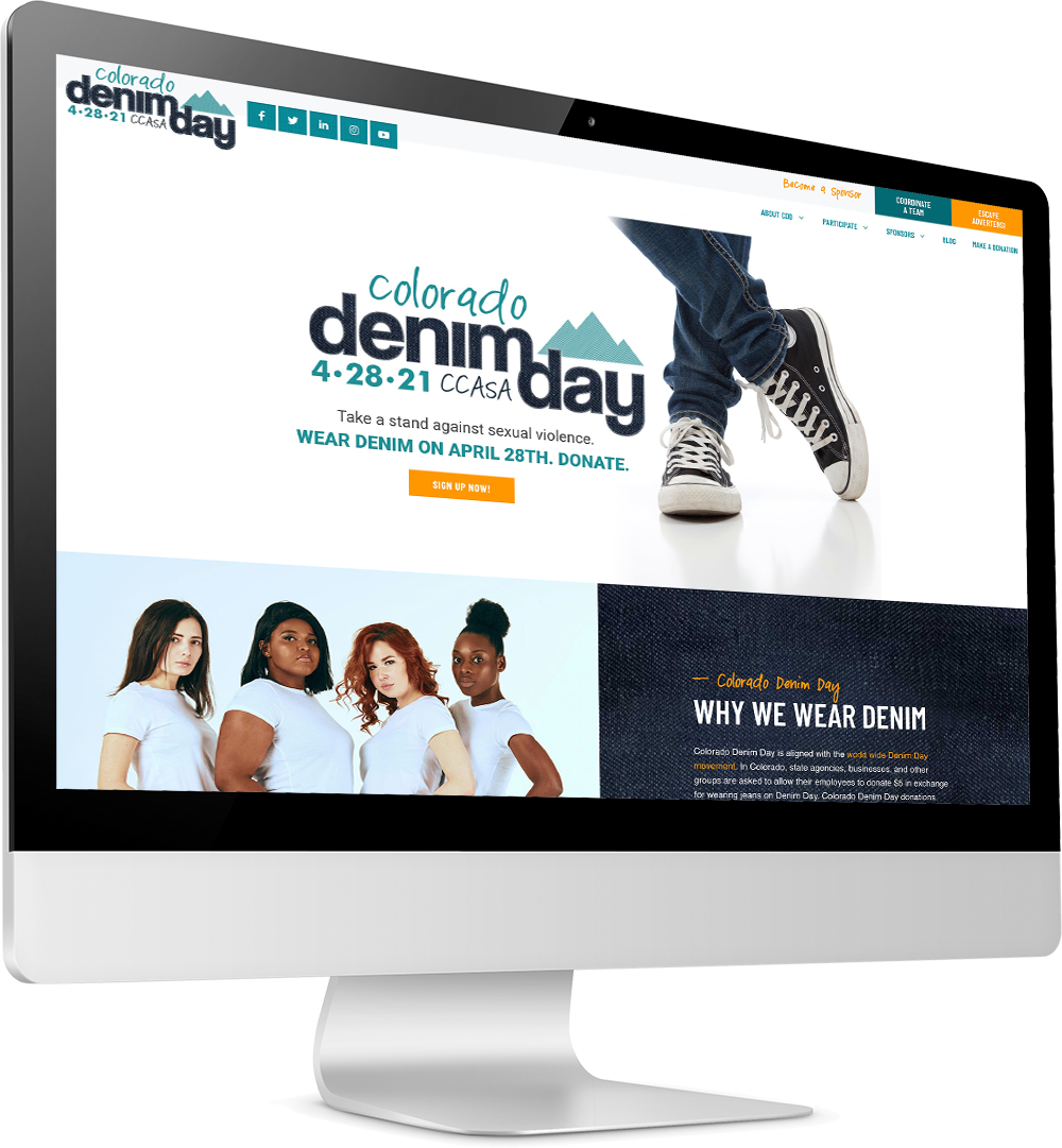 Angled screen showing Denim Day website