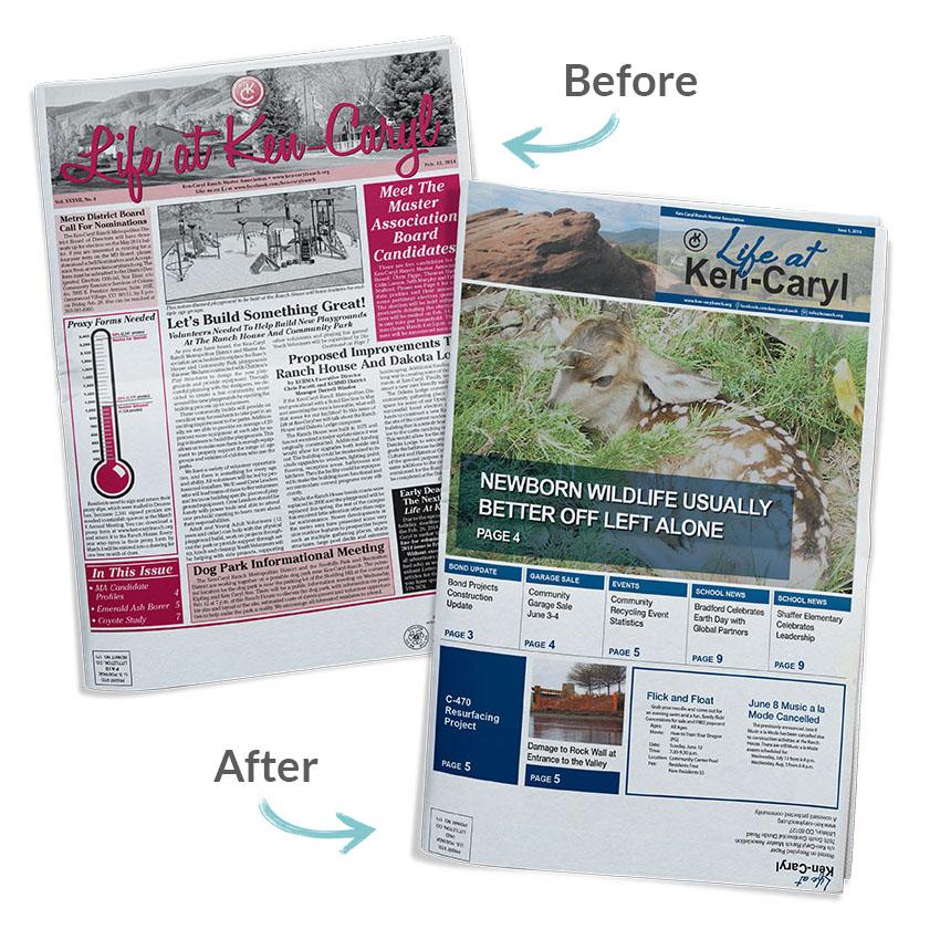 print newspaper design for Ken-Caryl Ranch