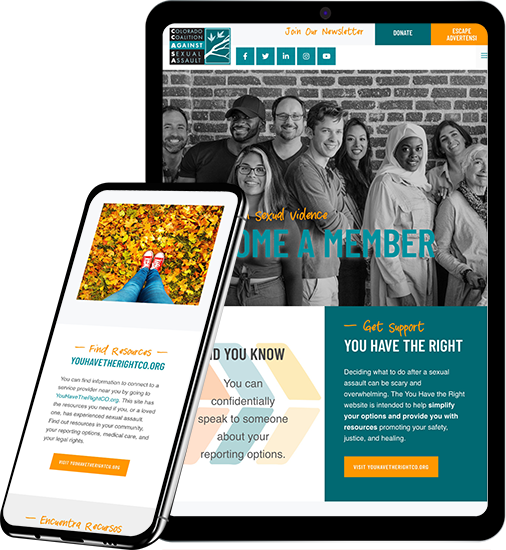 CCASA website design on tablet and phone